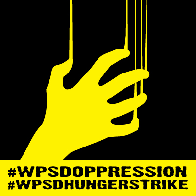 "Right-click to save image. Description: A bright yellow claw hand scrapes down a black background, in the same motion that the ASL word ""starve"" takes. At bottom is a yellow rectangle with the text, ‪#‎WPSDoppression‬ and ‪#‎WPSDhungerstrike‬."